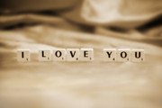 Neutral Colours Prints - I Love You Print by Natalie Kinnear