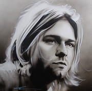 Kurt Cobain Framed Prints - I Need an Easy Friend Framed Print by Christian Chapman Art