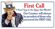Wwi Mixed Media Metal Prints - I Need You In The Navy Uncle Sam WWI Metal Print by War Is Hell Store