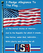 Flag Of Usa Posters - I Pledge Allegiance Poster by Barbara Snyder