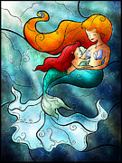 Mermaid Digital Art Prints - I remember love Print by Mandie Manzano