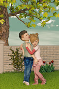 Boy Meets Girl Prints - I Remember Our First Hug Print by Liam Liberty