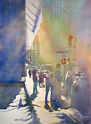 New York Skyline Paintings - I Saw the Light at 44th and Broadway by Kris Parins