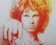 Jim Morrison Prints - I See Your Hair is Burning Print by Christian Chapman Art