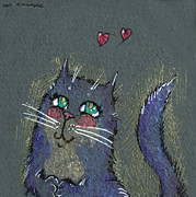 Cats Framed Prints - I think I am in love Framed Print by Angel  Tarantella