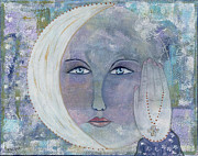 Luna Painting Posters - I Touched The Moon Poster by Nancy TeWinkel Lauren