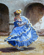 Mexican Folklore Paintings - I want to dance by Ma Ly