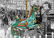 Seahorse Metal Prints - I Want to Ride the Seahorse Metal Print by Sabrina L Ryan