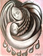 Angels Drawings - I Will Always Hold You In My Heart by Joyce McEwen Crawford