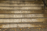 Graffiti Steps Prints - I Will Love You Print by Iris Page