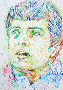 Joy Drawings Prints - IAN CURTIS portrait Print by Fabrizio Cassetta