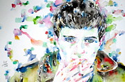 Trench Coat Framed Prints - Ian Curtis Smoking Cigarette Watercolor Portrait Framed Print by Fabrizio Cassetta