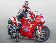 Owner Painting Framed Prints - Ians Ducati Framed Print by David James