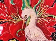 Yolanda Rodriguez - Ibis And Red Flower