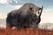 Extinct And Mythical Digital Art Originals - Ice Age Rhino by Daniel Eskridge