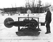 Winter Scenes Photos - Ice Block Cutting Machine by Underwood Archives