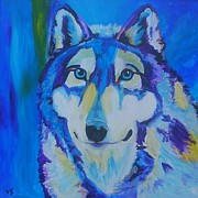 Husky Prints - Ice Blue Husky Print by Veronica Silliman
