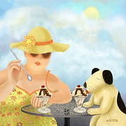 Dog Owner Digital Art - Ice-cream For Two by Marlene Watson