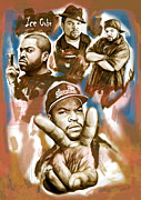 Rap Mixed Media Posters - Ice cube group drawing pop art sketch poster Poster by Kim Wang