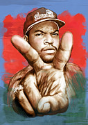 1969 Mixed Media - Ice Cube - stylised drawing art poster by Kim Wang