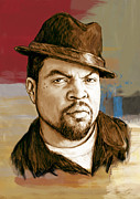 1969 Mixed Media - Ice Cube - stylised pop art drawing portrait poster  by Kim Wang