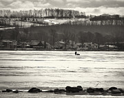 Joseph Duba Metal Prints - Ice Fisherman on Canandaigua Lake 2010 Metal Print by Joseph Duba