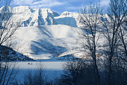 Fishing Creek Prints - Ice Fishing on Deer Creek Reservoir Print by Utah Images