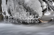 Ice Formation Above Stream Print by Dan Friend