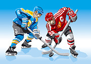 Men Prints - Ice Hockey Face Off Print by Frank Ramspott