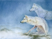 Wolf Prints - Ice Hunters Arctic Wolves Print by Tracy Herrmann