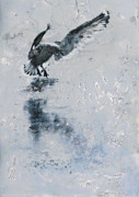 Flying Seagull Painting Framed Prints - Ice Landing 2 Framed Print by Heather Douglas