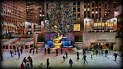 Gilded Prints - Ice Rink at Rockefeller Center Print by Lee Dos Santos