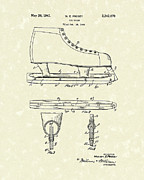 Ice-skating Posters - Ice Skate 1941 Patent Art Poster by Prior Art Design