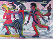 Ponds Painting Framed Prints - Ice Skaters  Framed Print by Ernst Ludwig Kirchner