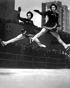 Legs Spread Photos - Ice Skaters Perform In NY by Underwood Archives