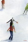 Impressionist Art Sale Posters - Ice Skaters Watercolor Painting Poster by Beverly Brown Prints