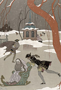 Winter Fun Paintings - Ice Skating on the Frozen Lake by Georges Barbier