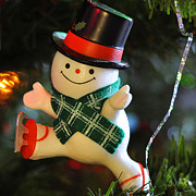 Ice Skates Photos - Ice Skating Snowman by Nava Jo Thompson