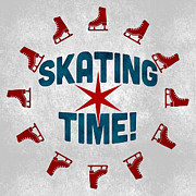 Skater Digital Art Posters - Ice Skating Time Poster by Vintage Poster Designs
