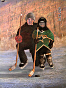 Hockey Pastels Posters - Ice Time Poster by Susan M Fleischer