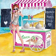 Pink Bedroom Paintings - Icecream on the Beach by Caroline Bonne-Muller