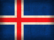 Ice Mixed Media Posters - Iceland Flag Vintage Distressed Finish Poster by Design Turnpike