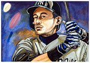Baseball Art Drawings Framed Prints - Ichiro Suzuki - Samurai Framed Print by Dave Olsen