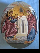 Byzantine Painting Originals - Icon of Annunciation on ostrich egg by Adamantia Karatza