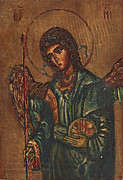 Medieval Reliefs Posters - Icon Of Archangel Michael - Painting On The Wood Poster by Nenad  Cerovic