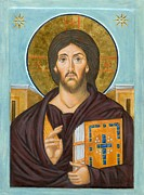 Jesus Christ Icon Framed Prints - Icon of Jesus Christ Framed Print by Juliet Venter