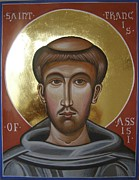 Byzantine Painting Originals - Icon of St Francis of Assisi by Peter Murphy