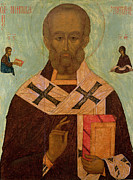 Portrait Of Old Man Posters - Icon of St. Nicholas Poster by Russian School