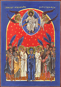Byzantine Icon Prints - Icon of the Ascension Print by Juliet Venter