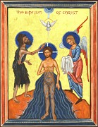 Baptism Paintings - Icon of The Baptism of Christ by Juliet Venter